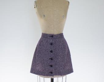 1960s 1970s tweed button mini skirt