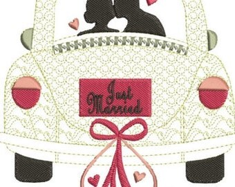 "Just married machine embroidery download 3 different sizes (4X5""  5X7 ""  7X8"" hoop)"
