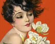 GORGEOUS FLAPPER Holds A Magnolia Bouquet Art Deco Illustration Digital Flapper Download Vintage Flapper Flowers Print