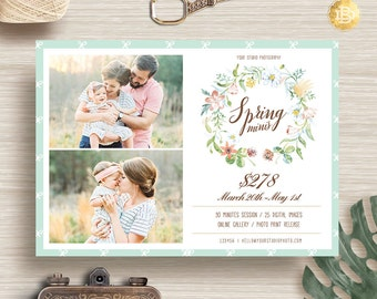 Floral Spring Mini Session for Photographer, Photography Spring Mini Session Template, Marketing Spring Flyer - INSTANT DOWNLOAD - MS012