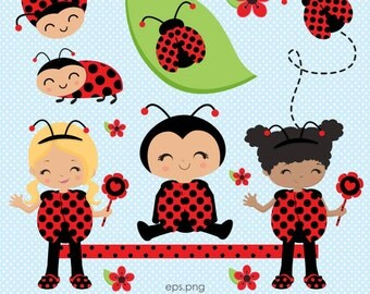Ladybug clipart, Cute Ladybug Girl clipart, Cute Bug clipart, Ladybug baby, Ladybug frame, Commercial License Included