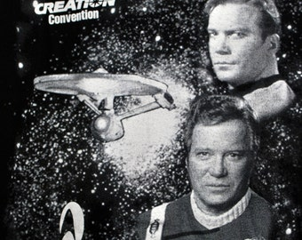 90s Star Trek Convention Shirt | 1995 Creation Convention T-Shirt. Enterprise, 60s & 80s Captain Kirk. Black And White. Montreal, Houston XL