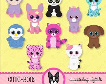 Beanie Boo's Clipart Set, Glitter Eyes - Commercial Use, Digital Clip Art, Digital Images