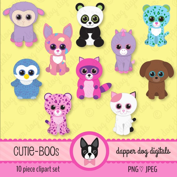 Beanie Boo's Clipart Set Glitter Eyes Commercial Use