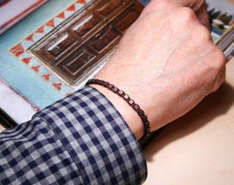 Men bead Bracelet, Hematite Bracelet, men braided Bracelet, men woven bracelet, Gift For men, healing jewelry, gemstone bracelet, burgundy
