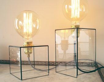 Geometric lamp - Industrial lighting - Handmade - Glass - Brass socket - Gold - Desk/Bedside lamp - Edison bulb - Gift - Minimalist