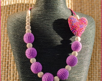 Necklace with a crochet heart