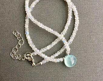 Rainbow Moonstone Aqua Chalcedony Gemstone Necklace, Mint Green Teardrop, Briolette Pendant, Sterling Silver, Tiny Moonstones, Boho Beaded