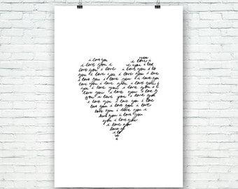 I love you, te quiero, escrito a mano, corazón, imprimible, arte para pared, láminas imprimibles, Poster, tipografía, motivacional