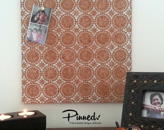 Lace design pinboard, Moroccan hand painted cork board, memo board, bulletin board for kitchen, dining, study or bedroom