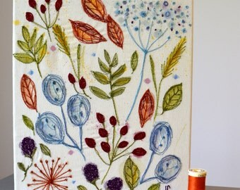 handmade, painted and sewn hedgerow canvas // freehand machine embroidery// watercolour// autumn// mother's day gift// birthday gift