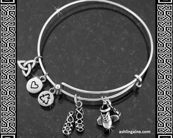 Irish Dance Charm Bangle, Irish dance Jewelry, Feis , ghillie, Soft shoe, hard shoe, Irish Jewelry, Silver bracelet  (RPEW31)