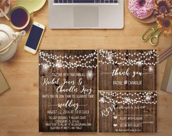 Rustic Wedding Invitation Printable Wooden String Lights Bridal Print Digital Bridal Invites Kit Custom DIY - BS41