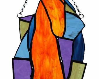 HORSE OF FIRE / colored stained glass suncatcher, a unique piece of art