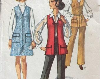 1970s jumper dress and longline vest & pants Simplicity 8935 vintage sewing pattern Petite Bust 31.5 Waist 23.5 Hip 33.5 Retro 70s Mad Men