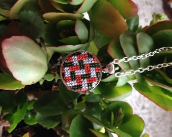 Cross stitch pendant, Orange and white embroidered necklace, Handmade jewelry, Cross stitch jewelry, Textile geometric round pendant