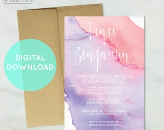 Printable Watercolor Invitation Engagement / Bridal Shower / Wedding / Save the Date/ Baby Shower / Birthday / Party