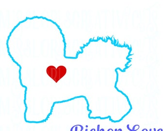 Bichon Love SVG   cut file  t-shirts  Dog car decalscrapbook vinyl decal wood sign cricut cameo Commercial use