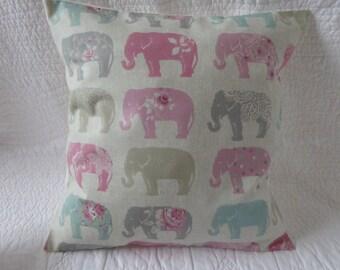 "16"" Cushion Cover Pink Green Grey Beige Elephant Print Handmade New 40cm"