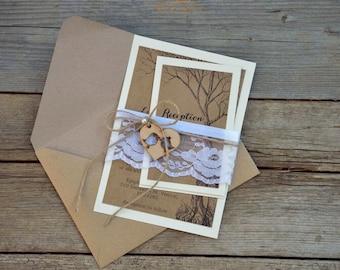 Custom Wedding Invitation, Rustic Wedding Invitation, Vintage Lace Wedding Invitation, Love Birds Wedding Invitation, Set of 20