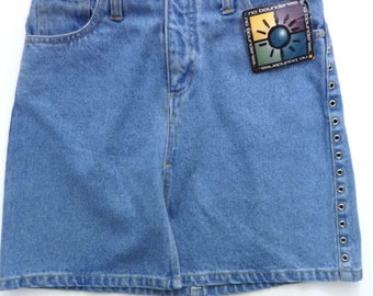 "90's Denim Jean Mini Skirt Size 3 See Through Side Grommets, 28"" Waist"