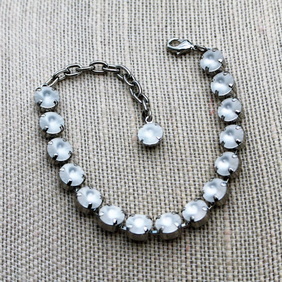 Brilliant White Swarovski Crystal Bracelet - in your choice of 8mm or 12mm, empty cup chain bracelets
