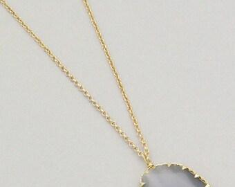Long Grey Stone Pendant Necklace