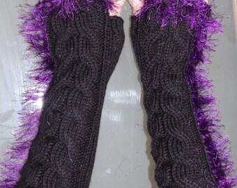 Long goth fingerless gloves