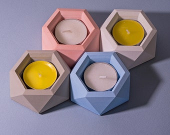 Geometric Concrete Candle Holder / Hexagon Candle / Concrete Decor