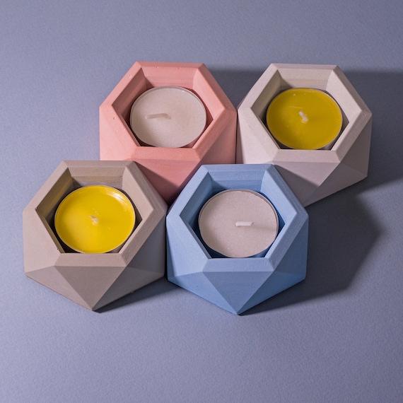 Geometric Concrete Candle Holder / Hexagon Candle / Concrete Decor