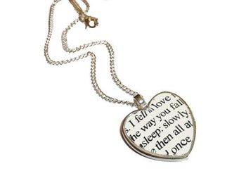The Fault in Our Stars Necklace, 'I fell in love the way you fall asleep', John Green Quote Jewelry Heart