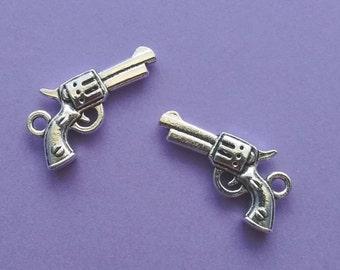 10 Gun Charms Silver Pistol Charm Handgun Charm - CS3095