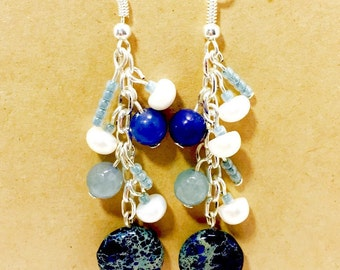 Freshwater white pearl and ocean blue earring