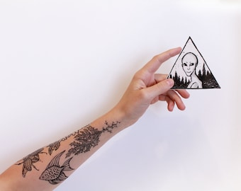 Extraterrestrial Grey Alien Temporary Tattoo, Triangle Forrest, Geometric Tattoo, Black and White, Outer Space, Alien Tattoo