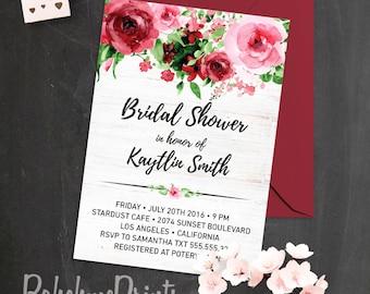 Watercolor Roses Bridal Shower Invitation Modern Bohemian Bridal Shower Invitation Printable Hens Night Invite Bachelorette Party Invitation