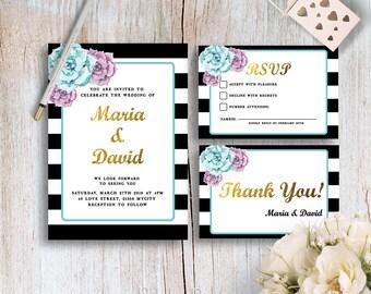 Floral Watercolor Peony Wedding Invitation Printable Wedding Invites Peonies Wedding Invite Customizable Modern Wedding Invites Digital File
