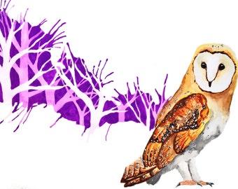 Printable owl art print, Nursery wall art, Nursery decor, Printable nursery art, Printable wall art, Abstract art, Nursery animal print