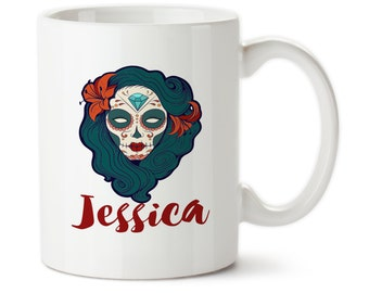 Coffee Mug, Sugar Skull Personalized With Your Name, Day Of Dead Gifts, Sugar Skull Gifts, Custom Coffee Cup
