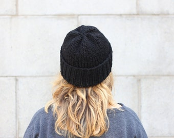 Black knit hat | Knit hats women | Black beanie| 100% Canadian wool // The Classic Cuffed Beanie in Black