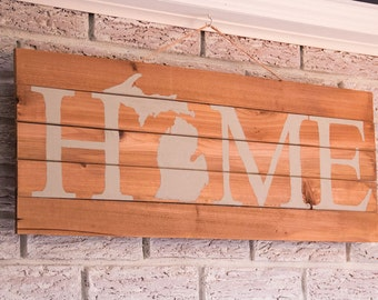 Wood Michigan HOME Sign
