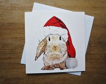 Rabbit Animal Hat Christmas Card