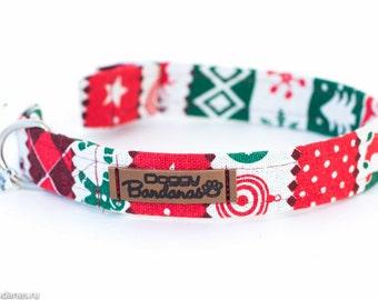 Christmas Dog Collar Winter Festive Dog Collar Snowflake Canvas Dog Collar Red Boots Dog Collar Holiday Xmas Dog Collar Christmas Gift Pet