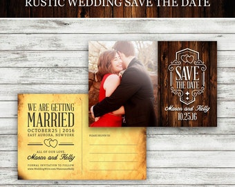 Rustic Wedding Save-The-Date Postcard, Vintage Wedding, Save the Date Postcard, Wedding Invitation, Wedding Save the Date - Printable