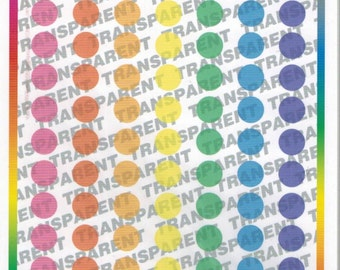 "Medium 1/4""  Transparent Colored Dots  E-118"