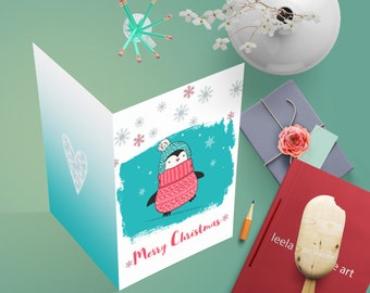 Christmas cards, Christmas penguin card,  Merry Christmas card , printable cards, Snowflake Christmas , Holiday Cards, Xmas greeting card