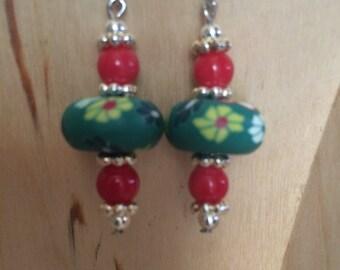 Green & red drop earrings