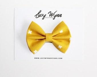 Mustard Yellow X's Bow   Lucy Wynn Designs   Yellow Bow, Mustard Yellow Bow, Fall Bow, Autumn Bow, Sailor Bow, Girls Bow, Nylon Headband