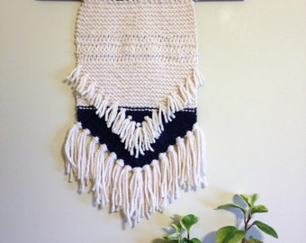 Cream and Navy Knit Wall Hanging