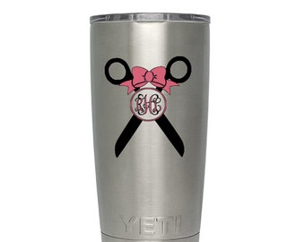 Hairdresser Monogram Decal // Cup Decal // Tumbler Decal // Yeti Decal // Vinyl Decal // Hairdresser Decal // Free Shipping