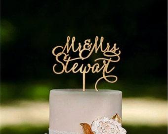 Custom Cake Topper Rustic Wedding Cake Topper Mr Mrs Last Name Cake Topper Personalized Monogram Gold Silver cake topper